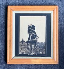 """Antique Reverse Glass Painting """"A Calm Sea"""" ~ sailing, boats"""