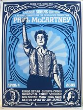 Paul Mccartney shepard fairey signed poster print david lynch concert 31/600