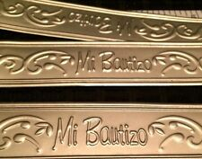 """7 Mi Bautizo Embossed Tin 7"""" Length Silver Sign For Baptism Favors, Centerpieces"""