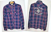 SCOTSCH & SODA Roll-up Long Sleeve Press Stud Plaid Flannel Shirt size Medium