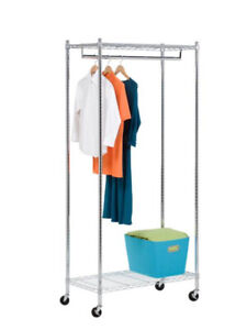 Rolling Garment Rack with Heavy Duty Steel Shelves for Long Coats and Garments