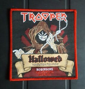 Iron Maiden PATCH Trooper Beer Hallowed Be Thy Name. Red Border Square. NEW