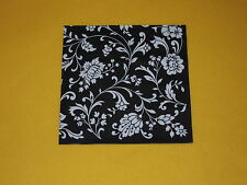 10 stück x Servietten Schwarz weiß Muster Blumen  ornamente (2 ) Black WHITE