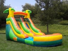 Commercial Grade Inflatable Water Slide Tropical 12 Feet Tall 100% PVC Vinyl