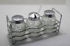 3 pc Glass Cruet Set Salt Pepper Mustard Pot In Metal Stand