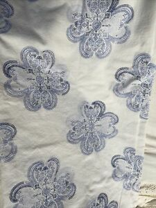 Threshold Blue White Medallion Fabric Shower Curtain Cotton Bath Decor Boho