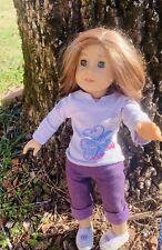 American Girl 18 Inch Doll Short Straig Blond Hair Blue Eyes Pink Case Included
