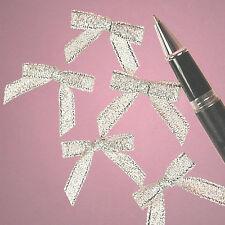 "25ct Tiny Metallic Lurex Silver Bow Ties 1-1/8"" x 1-1/4"" 00004000 ; Craft Supply Decoration"