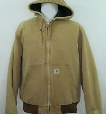 Carhartt J140 Duck Brown Quilted Winter Coat Full Zip Hooded Jacket Large USA