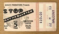 1980 ZZ TOP DALLAS CONCERT TICKET EXPECT NO QUARTER TOUR DUSTY HILL FRANK BEARD