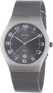 Bering Titanium Case Grey Steel Bracelet Men's Watch 11937-077 RRP £149