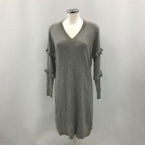New Biba Jumper Dress Women Size 14 Women Grey Gold Metallic V Neck Warm 304487