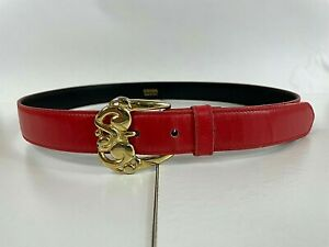 ESCADA Red Leather Belt with Gold Scroll Buckle Size 42