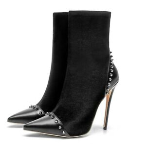 Fashion Women Stilettos Pointy Toe Rivet Ankle Boots High Heel Big Shoes Booties
