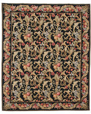 RRA 8x10 Fine Needlepoint Allover Floral Design Black Rug 14316