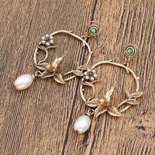 Vintage Round Loop Earring Leaves Bird Pearl Drop Pendnat Ear Studs Gold Jewelry