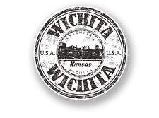 2 x Wichita Kansas Vinyl Sticker Travel Luggage USA #7086