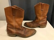 VTG Cowboy Western Boots Goodyear Oil Proof Soles Tan / Brown Leather Mens Sz 9