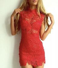 Red Sexy Crochet Dress Never Worn Size L 10/12