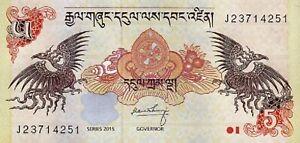 Money of Bhutan ▶ P-28c 2015 Note 5 ngultrum World  Banknote unc