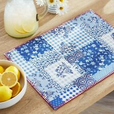 NEW 4 pack Pioneer Woman Heritage Patch Placemats - reversible, floral, blue