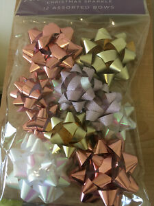 12 x Gift Bows Christmas Sparkle Rose Gold Pink Gold Iridescent Wrapping bow