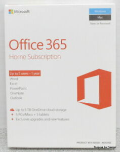 *NEW SEALED* Microsoft Office 365 Home 1-Year Subscription 6GQ-00643, English
