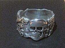 STERLING SILVER Ring Solid Vintage 925 Man's Biker Skull Rocker Skeleton Jewelry
