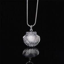 Women Silver Picture Locket Hollow Heart Photo Pendant Chain Necklace Ras Shell