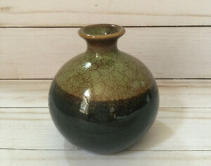 Small Brown Vase Globe Shape 4 inches tall, Two Tone Drip Glaze Made in Mexico