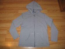 Karen Scott Sport Blue & White Striped Zippered Hoodie Jacket Women's Size M