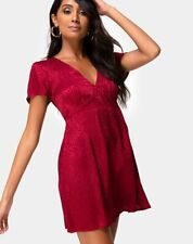 MOTEL ROCKS Elara Dress in Satin Cheetah Raspberry S Small (mr65)