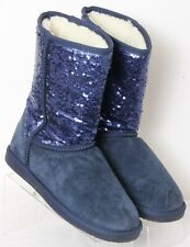 Lamo Navy Suede Sequin Fuzzy Lined Pull-On Warm Winter Casual Boots Women's US 8