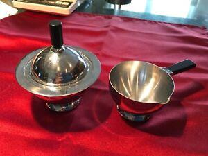Chase Chrome & Black Art Deco Sugar Bowl & Creamer Set w/Bakelite Handles - NICE