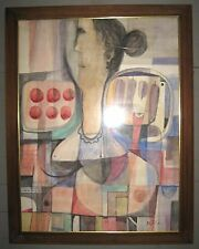 Signed MCM Modern Abstract Cubist Aquarel Woman W Trays Of Tomatos & Eggplants