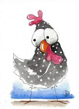 ACEO Original watercolor painting whimsy farm bird illustration chicken Bessie