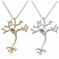 Fashion Women Neuron Cell Biological Cytology Copper Pendant Necklace Jewelry