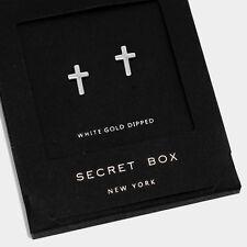 Cross Earrings Small Secret Gift Box WHITE GOLD DIPPED Tiny Stud Classic Elegant