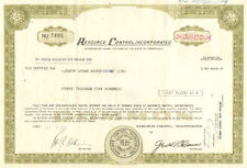 Resource Control Incorporated > 1979 Connecticut share stock certificate
