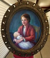 """OIL PAINTING MOTHER CHILD NEWBORN BABY ON CANVAS IN ANTIQUE FRAME 27X23"""" LARGE"""