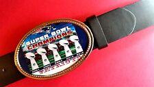 NEW ENGLAND PATRIOTS 5 TIME  SUPER BOWL CHAMPIONS Epoxy Buckle & Black Belt