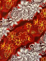 Island Hawaiian Batik Floral Plant Quilting Fabric Red Yellow 110w .5Metre