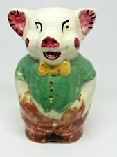 Vintage Anthropomorphic Pig Ceramic Bank California Pottery Smiling Piggy Cute