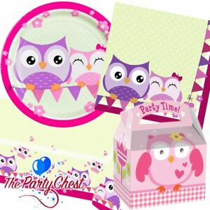 OWL PARTY SUPPLIES TABLEWARE AND ACCESSORIES Plates Napkins Table Cover Boxes