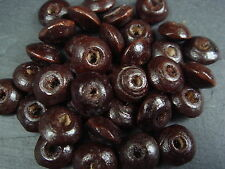 200+ Brown wood beads round disc doughnut shaped beads 20g approx 230 beads