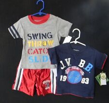 NWT  3PC NANNETTE BABY BOYS TEES AND SHORTS  2 T-Shirts 1 Shorts  Sz 24 mos NEW