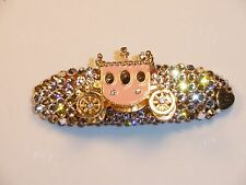 Crystals & PINK CARRIAGE Jewelry BARRETTE Pink/Peach/Clear BETSEY J!