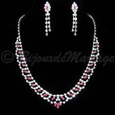 """Parure de Bijoux collier boucles d'oreilles cristal rose """"SISSI"""" mariage fêtes"""