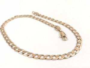 """9ct 9K Yellow """"Gold Filled""""Curb Cuban chain Bracelet/Anklet L=10.4"""" & Free Pouch"""