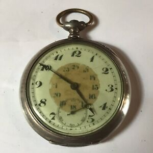 50MM .800 SILVER SWISS POCKET WATCH FOR RESTORATION OR PARTS  (P81)
